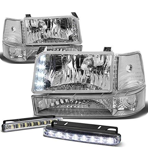 For Ford F-Series/Bronco Chrome Housing Clear Corner 6pcs Headlight+DRL 8 LED Fog Light