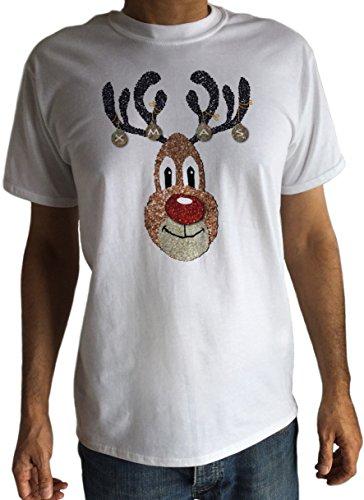 Herren T-Shirt Christmas Novelty Jingle Bells weiß rudolphglitter Effekt Print C6