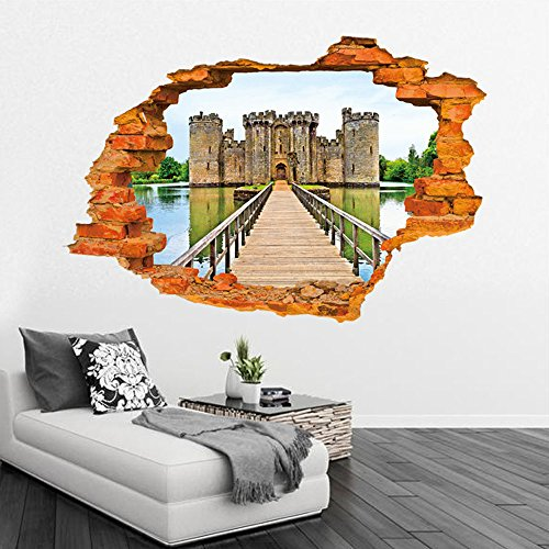 Kaimao Wall Decal 3d Mural a Corner of The Old Castle Removable Wall Stickers for Wall and Ceiling Home Decor