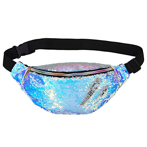 ICOSY Fanny Pack,Mermaid Sequin Waist Pack PU Leather Back Waist Bag Adjustable Belt Chest Bag Color Changing Glitter Shoulder Pack for Outdoor Sports Party Festival]()