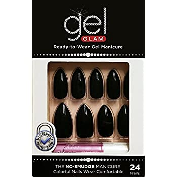 Artificial Nail Tips Health & Beauty Kiss Gold Finger Gel Glam 24 Nails Gfc08 Black Stilitto Style