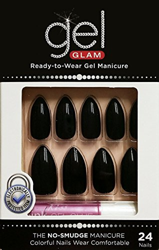 Kiss Gold Finger Gel Glam 24 Nails GFC08 BLACK STILETTO STYLE -