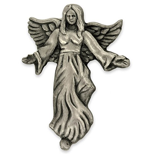 PinMart's Antique Silver Angel with Flowing Dress Spiritual Lapel Pin by PinMart