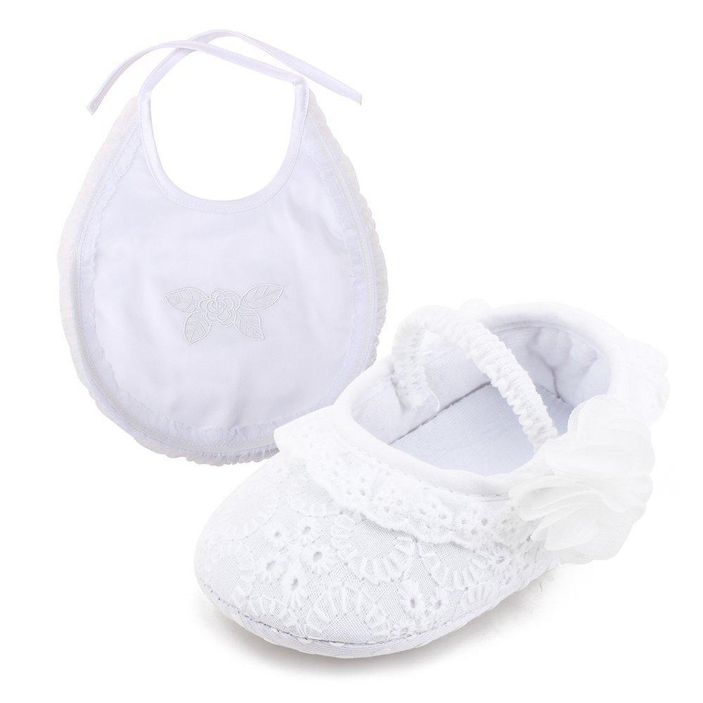 73df17f338e20 DELEBAO Chaussure Premier Pas Fille Blanc Chaussures de Bébé Baptême  Semelle Souple en ...