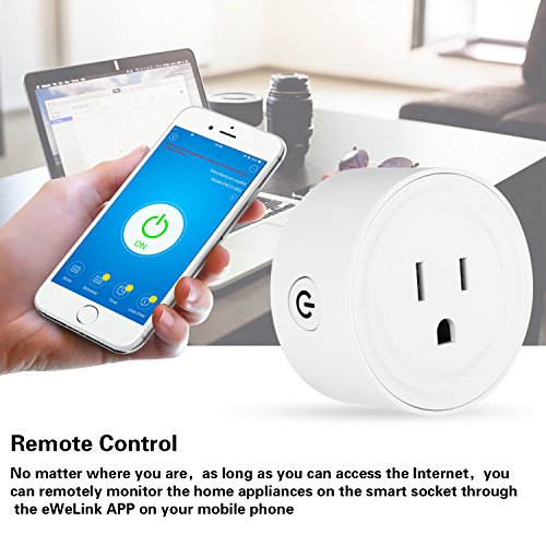 Wifi Smart Plug Mini Socket Outlet Power Switch Works With Amazon Alex Google Home Remote Control By App No Hub Required Time Fuction(2 Packs) by mingjin (Image #3)