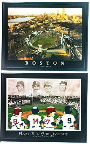 Boston Red Sox Fenway Park Framed Aerial Photo and Little Legends Framed Lithograph Set of 2 LL6004 ()