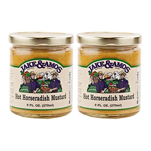 Jake & Amos Hot Horseradish Mustard / 2 - 9 Oz. Jars