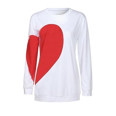 AIMEE7 Femmes Coeur Imprimé Court T-Shirt Sleeve Tops