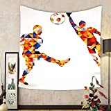 Gzhihine Custom tapestry Sports Tapestry Abstract Decor with Football Soccer Players in Geometrical Colorful Shapes Print for Bedroom Living Room Dorm 60 W X 40 L Multicolor