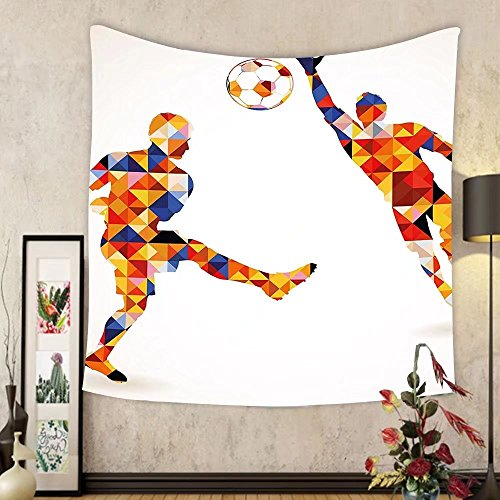 Gzhihine Custom tapestry Sports Tapestry Abstract Decor with Football Soccer Players in Geometrical Colorful Shapes Print for Bedroom Living Room Dorm 60 W X 40 L Multicolor by Gzhihine
