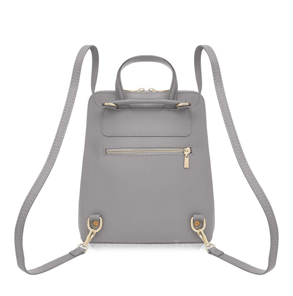 Montte Di Jinne| 100 % italiensk gråigt läder | Strukturerat med framficka | Ryggsäck | Cross Body | damgåva Rainbow Daisy