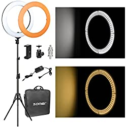 "ZOMEi 14"" LED Ring Light Dimmable for Video YouTube Portrait and Photography Lighting with Heavy Duty Light Stand"
