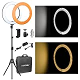 ZOMEi 14'' LED Ring Light Dimmable for Video Youtube Portrait and Photography Lighting with Heavy Duty Light Stand