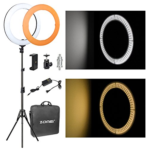 ZOMEi 14'' LED Ring Light Dimmable for Video Youtube Portrait and Photography Lighting with Heavy Duty Light Stand by ZoMei