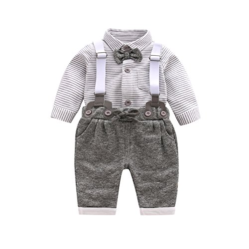 Infant Valentine Bib Little - Baby Boy Clothing Sets with Bowtie,Infant Gray Stripe Onesie + Bibs Overalls + Suspenders Outfit Suits