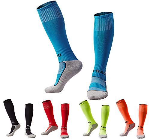 Boys/Girls Outfits Compression Long Sport Knee High Football & Soccer Socks Pack (Kids/Youth Gifts) 5 Pair Black&Azure&Red&Orange&Green (High Youth Socks Knee)