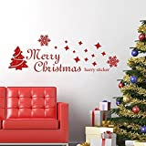 MairGwall Merry Christmas Wall Decal Falling Star In Holy Night Wall Sticker Tree Vinyl Snowflake Mural (16''H x47''W,Tomato Red)
