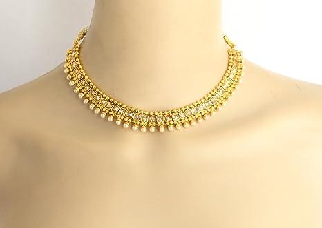 Amazoncom Wedding Indian Crystal Jewelry Necklace Setbollywood