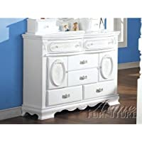 ACME 01665 Flora Dresser with Doors, White Finish
