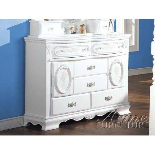 ACME 01665 Flora Dresser with Doors, White Finish - Flora White Finish