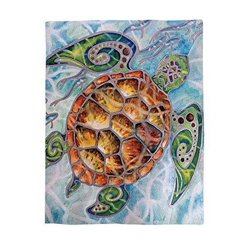 LALADecor Marine Plush Microfiber Fabric Throw Blanket Lightweight Warm Couch Bed Blankets 50x60 inch, Ocean Sea Turtle Swimming with Fish