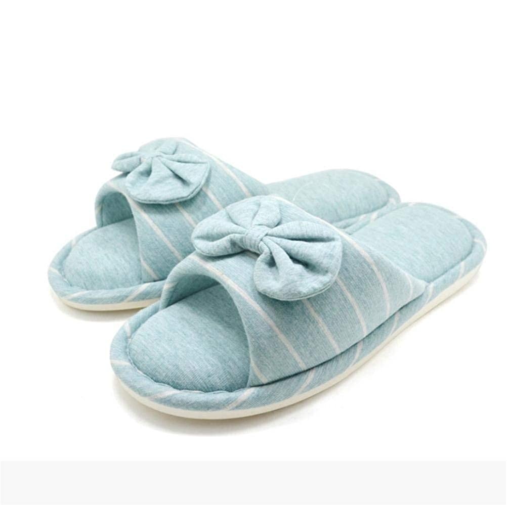Light bluee JaHGDU Women Home Slippers Leisure Home Indoor Slippers Light bluee Pink Stripe Soild color Personality for Women