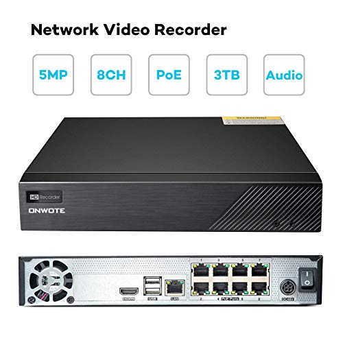 【Audio】 ONWOTE 5MP PoE NVR Security Camera System, 8CH H.265 5MP NVR 3TB HDD, 8 Outdoor 5 Megapixels 2592x 1944P Ethernet IP Security Cameras, 100ft Night Vision, Onvif, Remote Home Monitoring System by ONWOTE (Image #4)