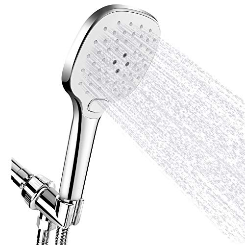 High Pressure Handheld Shower Head, FEELSO 3-Setting Hand Held Showerhead with Powerful Spray, 60 Inches Stainless Steel Hose, Adjustable Angle Bracket, Chrome