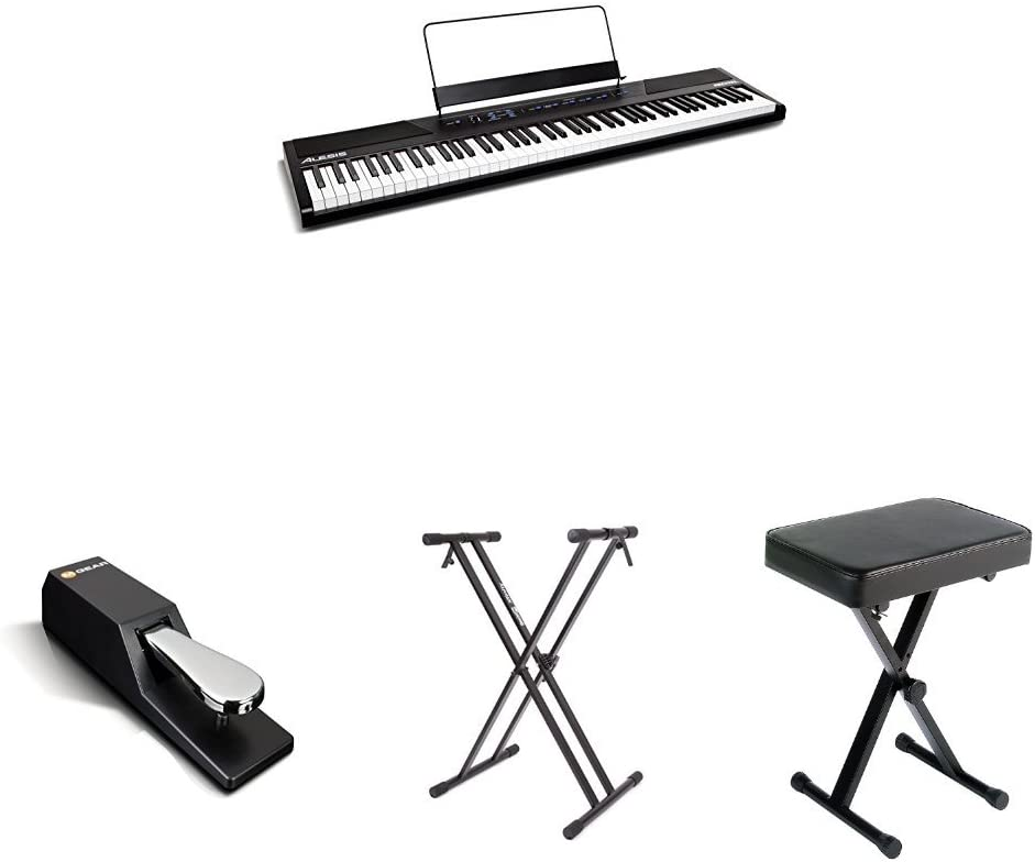B01N14FO09 Alesis Recital 88-Key Beginner Digital Piano with Full-Size Semi-Weighted Keys and Power Supply, Stand, Bench, and Sustain Pedal 51EpWcPj6CL