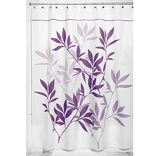 Curtains Eggplant (InterDesign 35694 Leaves Fabric Shower Curtain - Long, 72