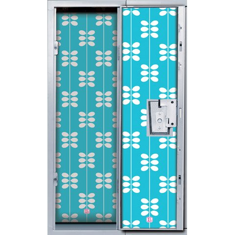 LockerLookz Locker Wallpaper - Blue Leaf Pattern