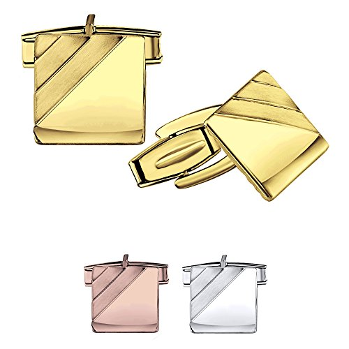 Men's Sterling Silver .925 Square Cufflinks, Italian Designed and Made, High Polished by Hand, with Satin Finish Accents, with Secure Solid Hinges, Engravable, Measuring 14mm