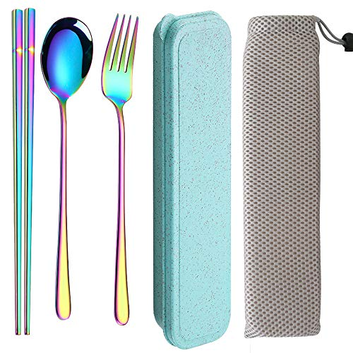 3PCS Portable Flatware Fork Spoon Chopsticks Tableware Set Stainless Steel Dinnerware with Travel Box and storage bag ()