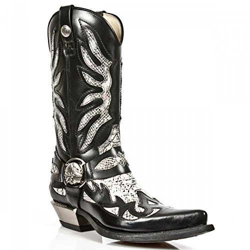 Nero 7991 Cerniera Pelle In Bianco Mens Cowboy Western s3 Stivali Rock New M Con Piton wtq007