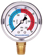 "Measureman 2"" Dial Size, Glycerin Filled Pool Filter Pressure Gauge, 304 Stainless Steel Case, 0-35psi/250kpa, 1/4"" NPT Lower Mount"