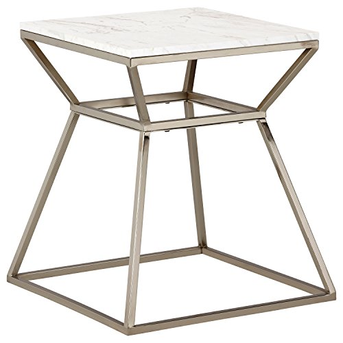 Rivet Modern White Marble and Metal Side End Table Nightstand, 18