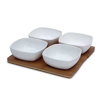 MOM Italy Morelle Bowl Set with Bamboo Base, 5-Pieces
