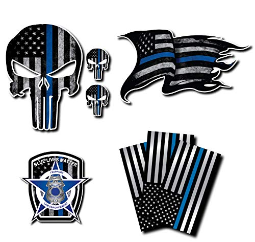 Variety Pack of Thin Blue Line Police Officer Blue Lives Matter American Flag Vinyl Decal Sticker Car Truck BLM(8 Pack)