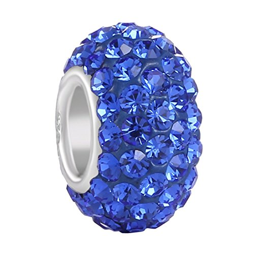 Charm, CZ Crystal Charm Ball Beads Spacers SEPTEMBER Birthstone Charms Sapphire Royal Blue Top Quality Fit MOST Charm Bracelet By Aurora Charm ()