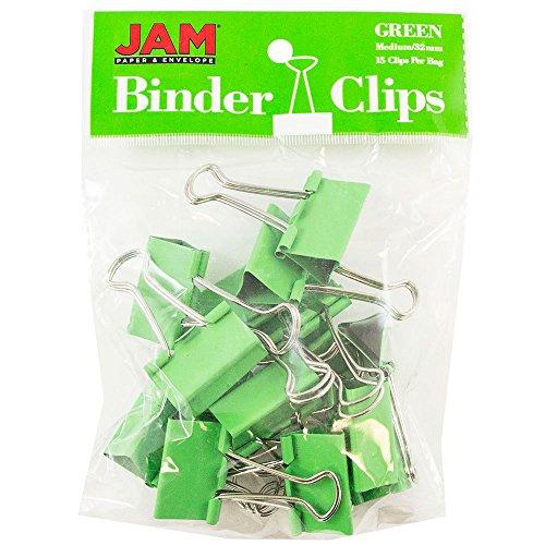 JAM Paper Binder Clips - Medium - 32mm - Green Binderclips - 15/pack (Dark Green Binders)