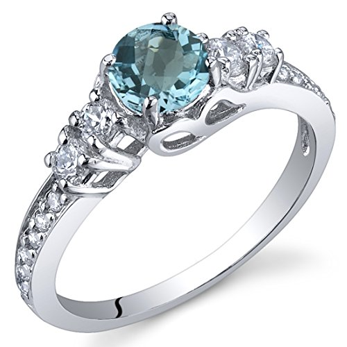 1/2 Ct Blue Topaz Ring - Enchanting 0.50 Carats Swiss Blue Topaz Ring in Sterling Silver Rhodium Nickel Finish Size 5