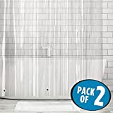 mDesign Extra Long Waterproof, Mold/Mildew Resistant, Heavy Duty Premium Quality 10-Guage Vinyl Shower Curtain Liner for Bathroom Shower Stall and Bathtub - 72'' x 96'', Pack of 2, Clear