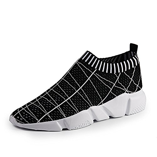 Casual Stripe Sneakers (YALOX Men's Ultra Lightweight Walking Shoes Fashion Casual Sneakers Street Sport Shoes Slip On Shoes (10.5 D(M) US, Black-Stripe))