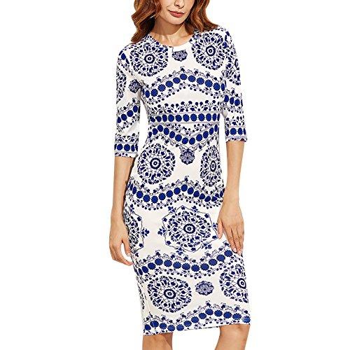 CHICFOR Spring Women Dresses Blue White Porcelain Round Neck 3/4 Length Sleeve Stretchy Midi Bodycon Pencil Tunic Dress (S) (Long Neck Porcelain)