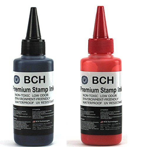 Red and Black Combo Stamp Ink Refill by BCH - Premium Grade -2.5 oz (75 ml) Ink Per Bottle by BCH