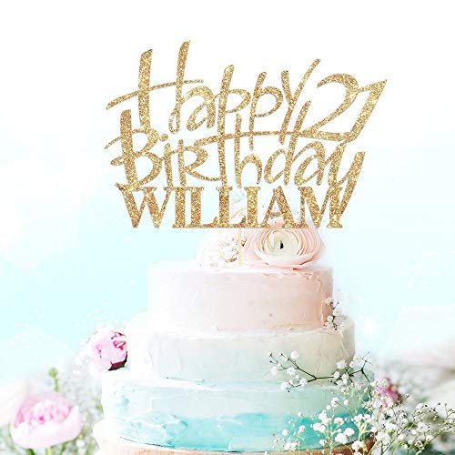 Happy Birthday Cake Topper Party Decoration Personalised With Custom Name And Age Double Sided 400 Gram Glitter Card 21st