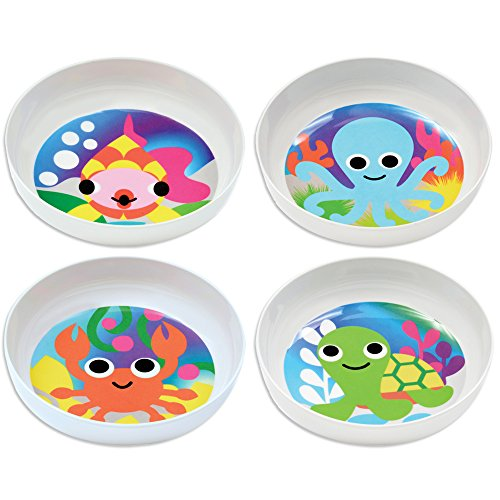 French Bull Kids Bowl Set of 4 - BPA-Free, Cereal, Animals, Toddler, Durable, Drop Resistant - Ocean ()