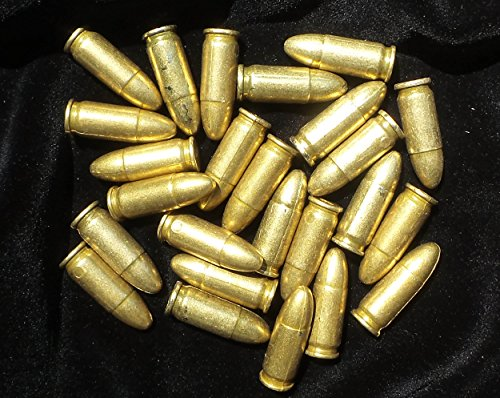 25 Replica Bullets - MP 40 Submachine Gun Denix Dummy Ammo Cartridge Rounds - 9mm (9mm Replica Bullets)