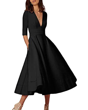 0fb8a7dff0e Lalagen Womens Vintage 3 4 Sleeve V Neck Flare Plus Size Cocktail Party  Midi Dress