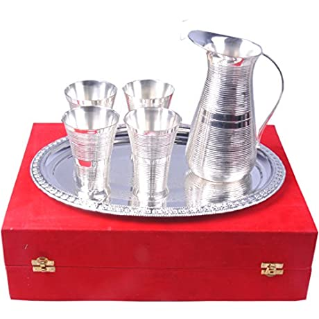 SHIV SHAKTI ARTS Handmade Silver Plated Pure Brass Lemon Set Of 6 Pieces Drinkware Set Of 1 Tray 1 Jug And 4 Glass With A Special Velvet Box Jug With Glass And Tray Set